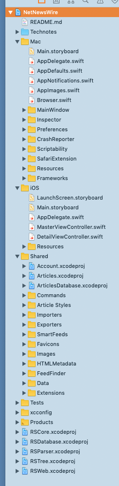 Screenshot of NetNewsWire workspace tree, with Mac, iOS, and Shared folders expanded.