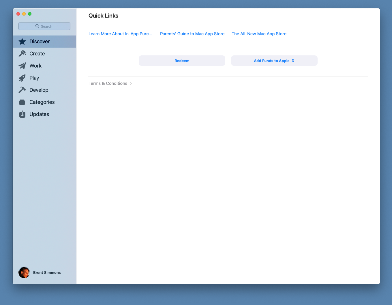 Screenshot of Mac App Store showing Quick Links instead of Discover tab