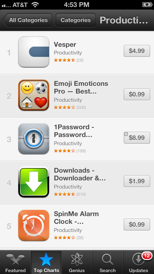 Screenshot of the Productivity chart in the App Store showing Vesper at #1.