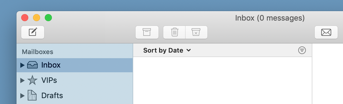 Screenshot of Mail showing an empty inbox.