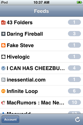 Screenshot of feeds list.