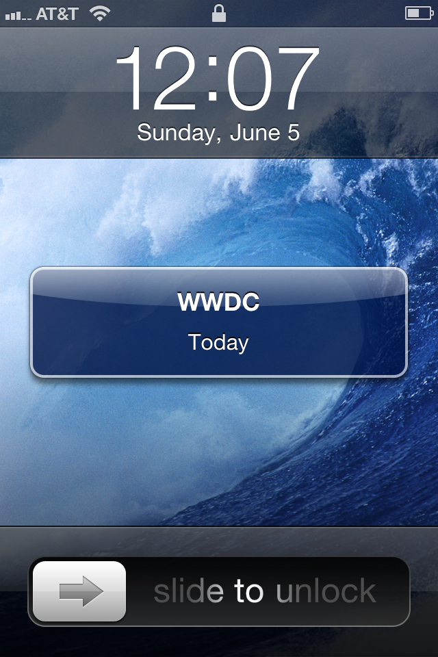 Screenshot of an older iOS showing a notification that WWDC is today.