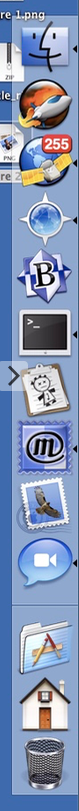 Macintosh Dock, on the right side of a screen, showing Finder, MarsEdit, NetNewsWire, Camino, BBEdit, Terminal, VoodooPad, Mailsmith, Mail, iChat, Applications folder, Home folder, and Trash.