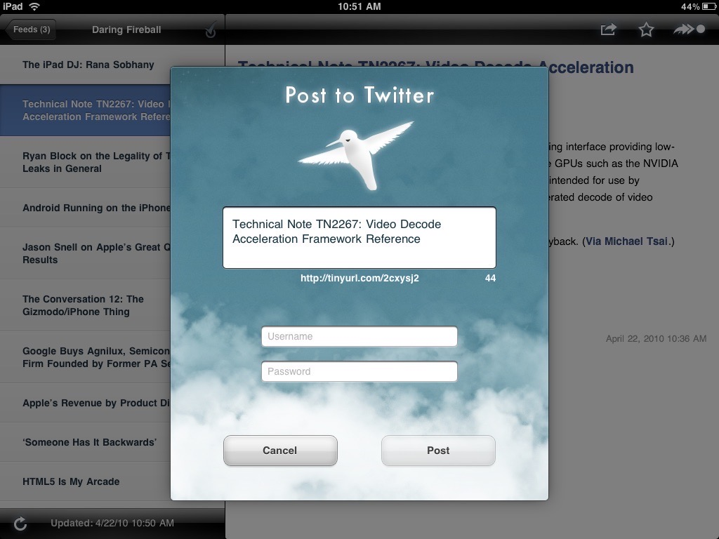 Screenshot of NetNewsWire 1.0 for iPad showing a very ornate sheet for posting to Twitter.